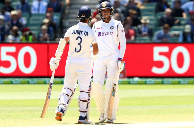 Shubman Gill, right, and Ajinkya Rahane in action during Day 4