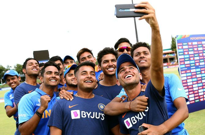 India's players pose for a selfie after trouncing Pakistan in the semi-finals of the Under-19 Word Cup in Potchefstroom, South Africa, on Tuesday