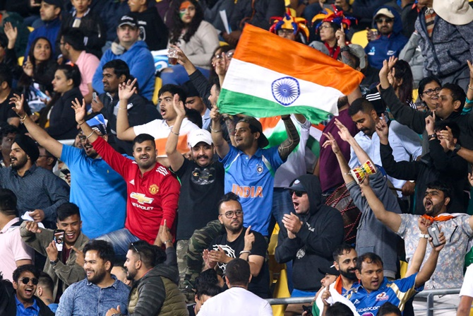 Indian fans show their support for their team during Game 4 of the Twenty20 series against New Zealand, at Sky Stadium in Wellington, on January 31, 2020.