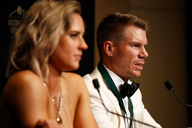 David Warner speaks to the media, along side Ellyse Perry, after the 2020 Cricket Australia Awards.