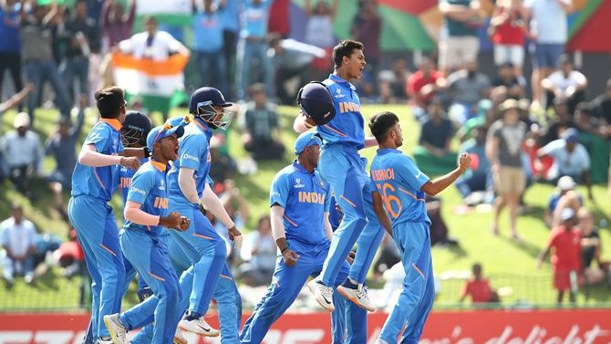 India players celebrate a stumping by Dhruv Jurel during the ICC Under-19 World Cup final against Bangladesh, at JB Marks Oval in Potchefstroom, South Africa.
