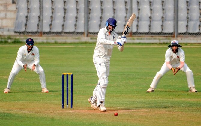 Madhya Pradesh batsman Venkatesh Iyer plays a shot during his unbeaten 87 against Mumbai at the Wankhede stadium on Thursday