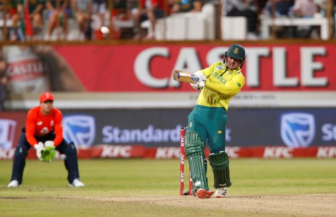 South Africa's Quinton de Kock hits a six during his knock of 65.