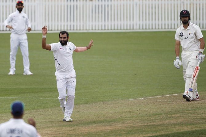Mohammed Shami appeals for leg before during New Zealand XI's first innings