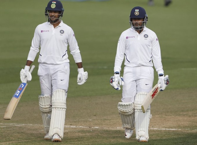 Openers Mayank Agarwal and Prithvi Shaw  put on a good 50-run partnership as India finished Day 2 on 59 without loss in their second innings.