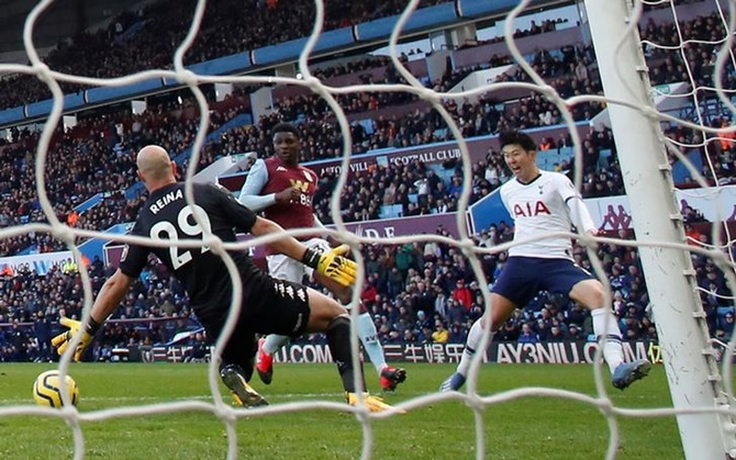 PICS: Son double sinks Villa, takes Spurs to 5th