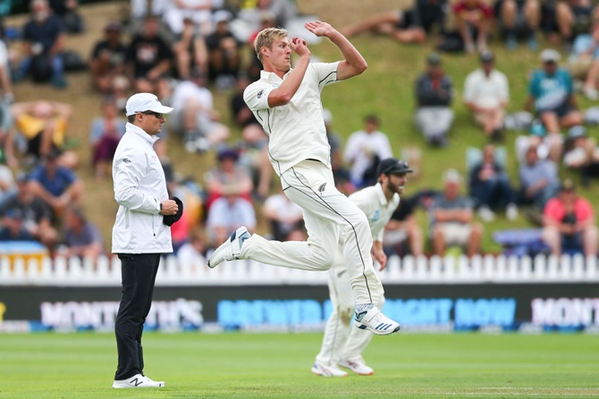 New Zealand pacer Kyle Jamieson bowls during Day 1 of the first Test against India, at Basin Reserve, Wellington,