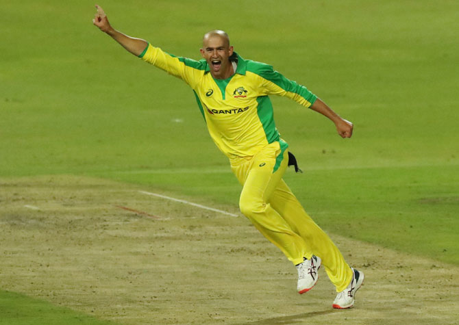 PIX: Agar hat-trick helps Australia rout SA in 1st T20