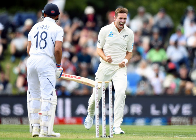 New Zealand pacer Tim Southee celebrates after trapping Virat Kohli leg before wicket
