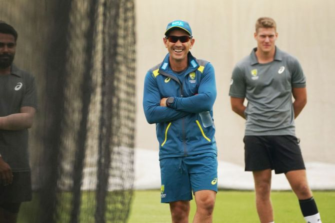Coach Justin Langer looks on during an Australian Test team training session at the Sydney Cricket Ground on Wednesday