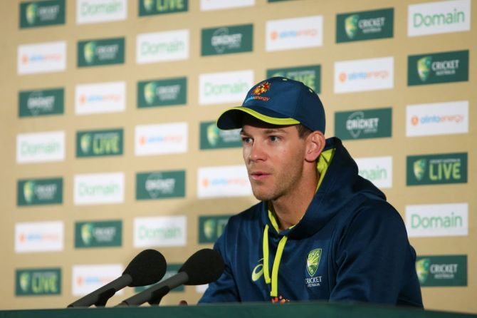 Australia captain Tim Paine speaks to the media during a team nets session at the Sydney Cricket Ground in Sydney on Thursday