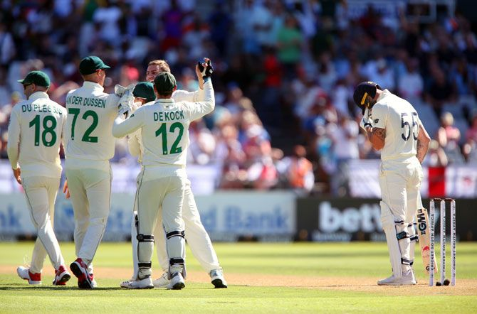 Anrich Nortje, centre, celebrates with his South Africa team-mates after taking the wicket of Ben Stokes (Image used for representative purposes)