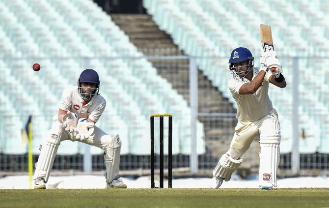Bengal's Manoj Tiwary bats on the last day of their Ranji Trophy match against Gujarat, at Eden Garden in Kolkata on Monday