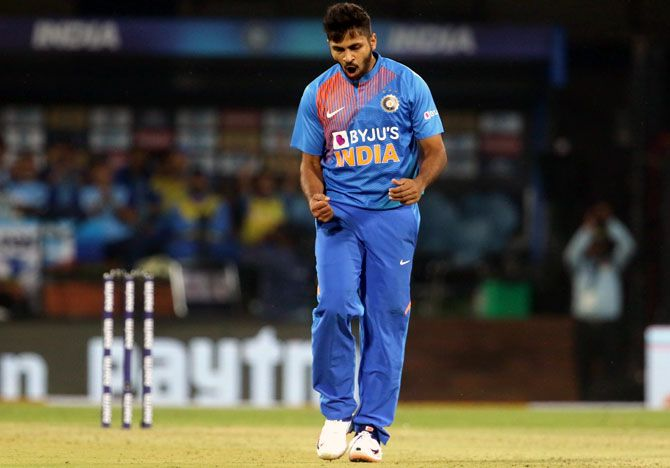 Shardul Thakur finished with figures of 3 for 23 in the second T20I in Indore on Tuesday