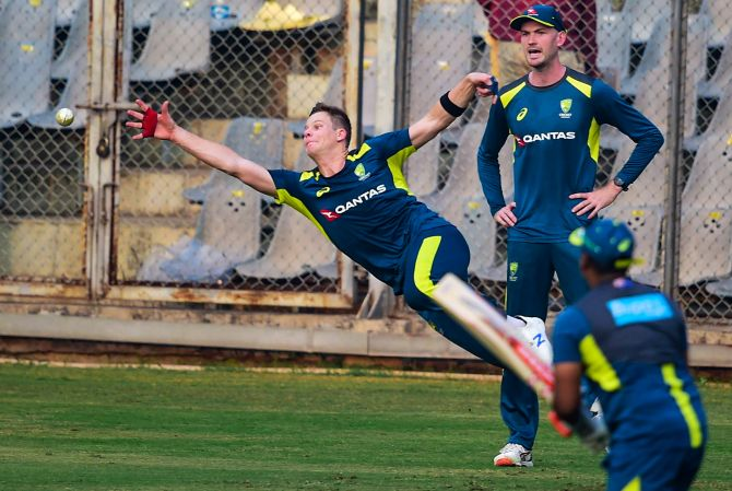 Australia's Steve Smith during a practice session in Mumbai on Saturday
