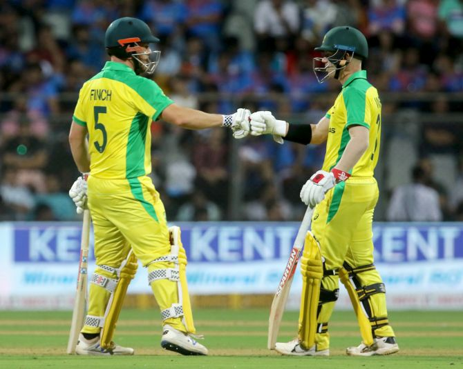 Australia's Aaron Finch and David Warner were at their destructive best against the Indian attack on Tuesday