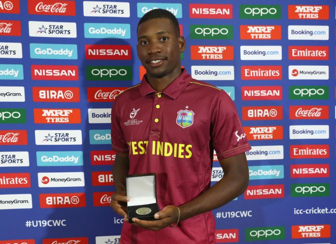 West Indies' Nyeem Young with the Man of the Match award after his match-winning show against England
