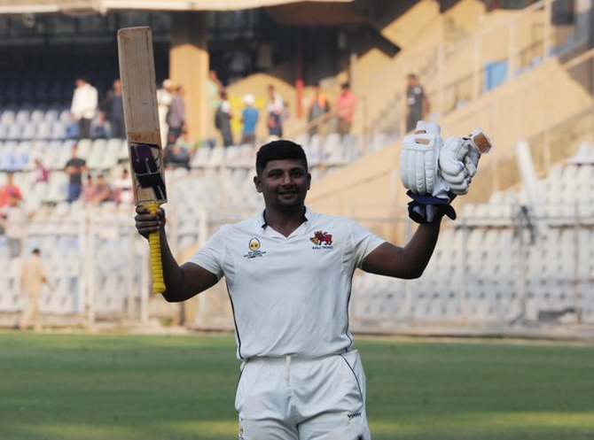 Mumbai's Sarfaraz Khan celebrates following his unbeaten triple hundred in the drawn Ranji Trophy game against Uttar Pradesh