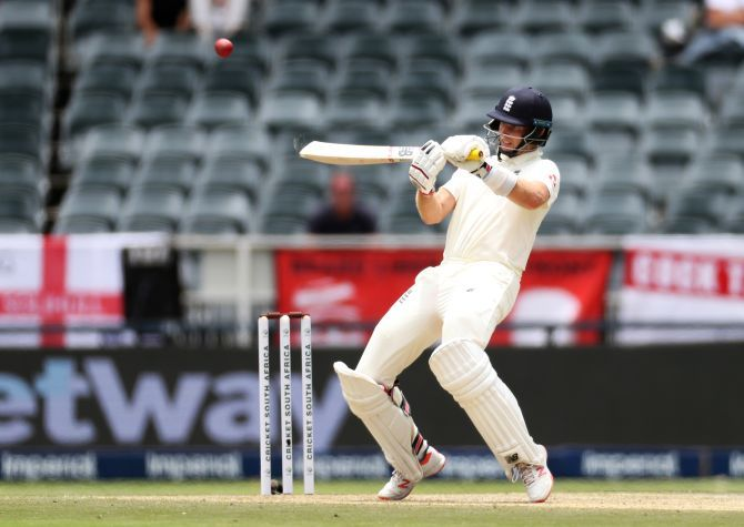 England captain Joe Root plays the upper cut during his innings of 59