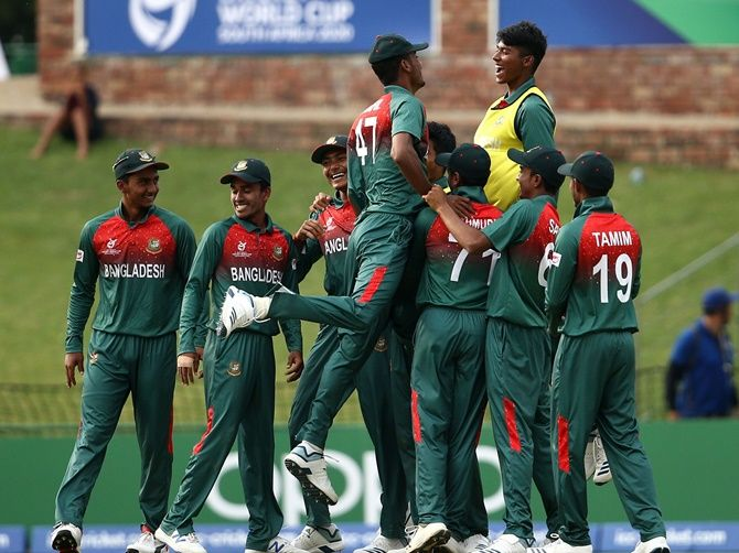 Bangladesh players celebrate victory over South Africa in the ICC Under-19 World Super League Cup quarter-final