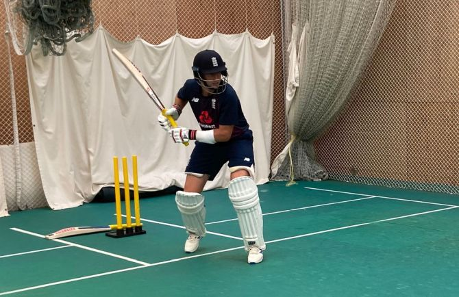 Joe Root bats at a nets session held indoors on Tuesday, June 30.