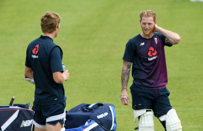 England captain Ben Stokes speaks with Zak Crawley during a nets session at Ageas Bowl in Southampton on Monday