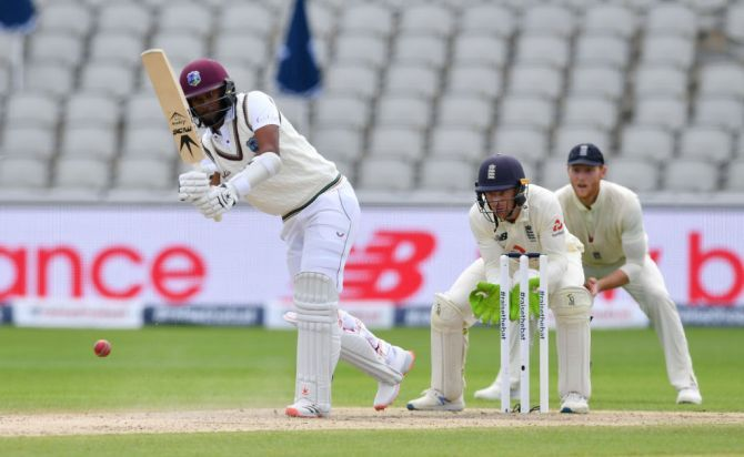 West Indies' Kraigg Brathwaite batted well to score 41 not out going in to the lunch break.