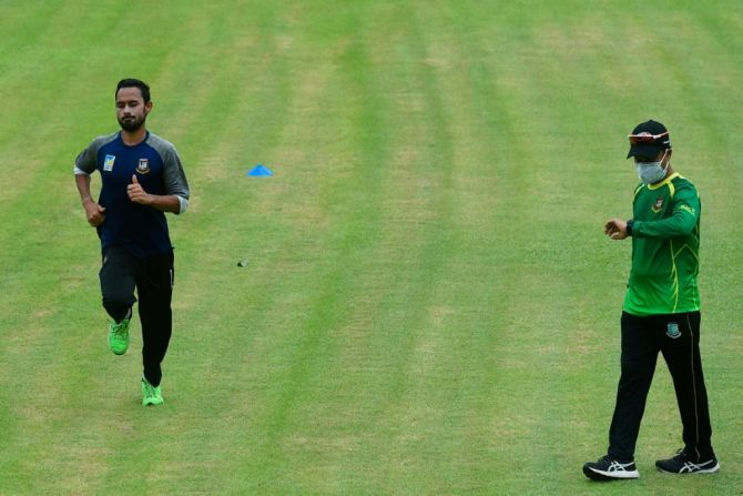 Bangladesh's Mohammad Mithun goes through the paces as he resumes training on Sunday