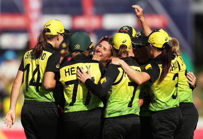 Australia's players celebrate a dismissal during the ICC Women's T20 World Cup.