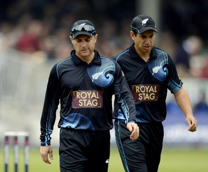 New Zealand's Brendon McCullum (left) and Ross Taylor during a One-day international  match against England at Lord's.