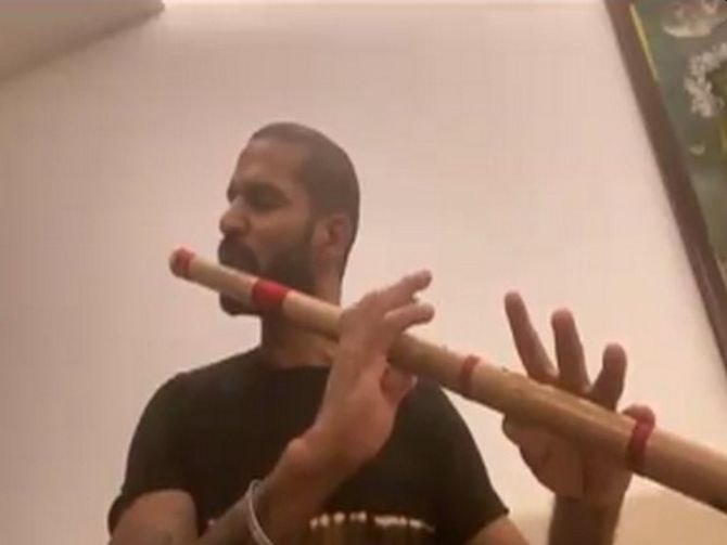 Lockdown files: Dhawan shows fans flute-playing skills