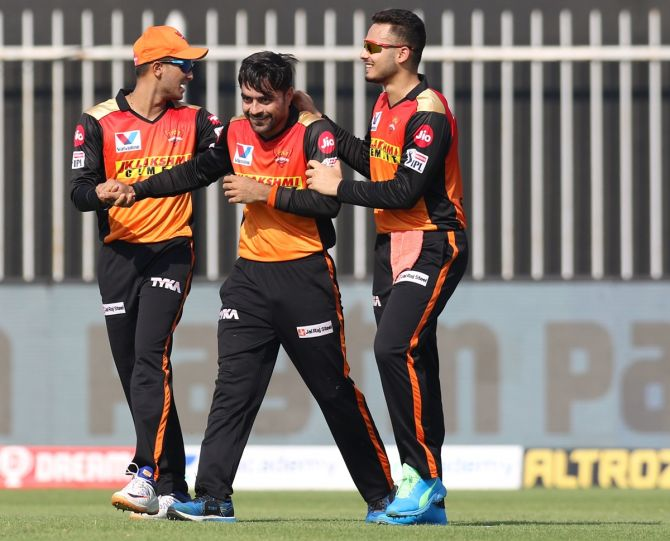 Rashid Khan, who was the pick of the SunRisers bowlers, conceding 22 runs in four overs, including a wicket of Quinton de Kock.