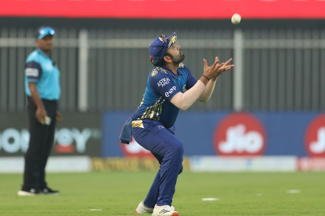 Rohit Sharma takes the catch to dismiss  Abdul Samad.