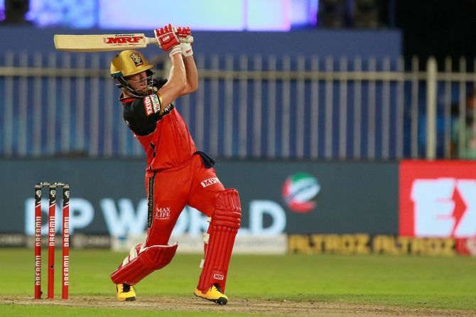 Royal Challengers Bangalore batsman AB de Villiers sends one of the six sixes he hit into the stands during Kolkata Knight Riders in Monday's IPL match in Sharjah.