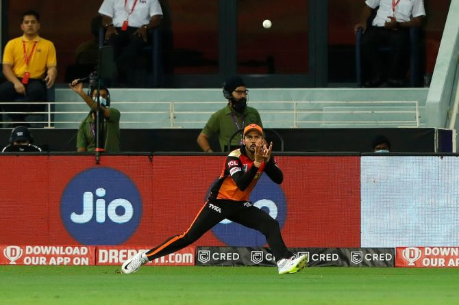 Manish Pandey takes the catch to dismiss Shane Watson
