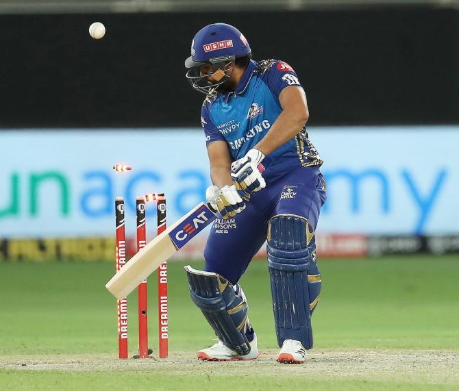 Rohit Sharma is bowled by Arshdeep Singh.
