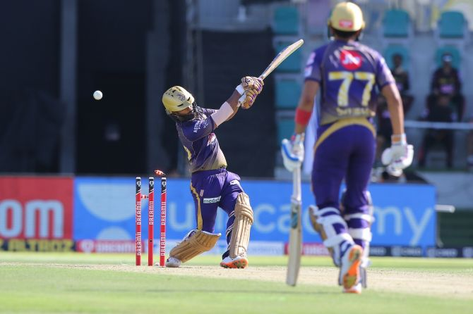 Kolkata Knight Riders batsman Rahul Tripathi is bowled by Thangarasu Natarajan, not in picture, during the IPL match against SunRisers Hyderabad, in Abu Dhabi, on Sunday