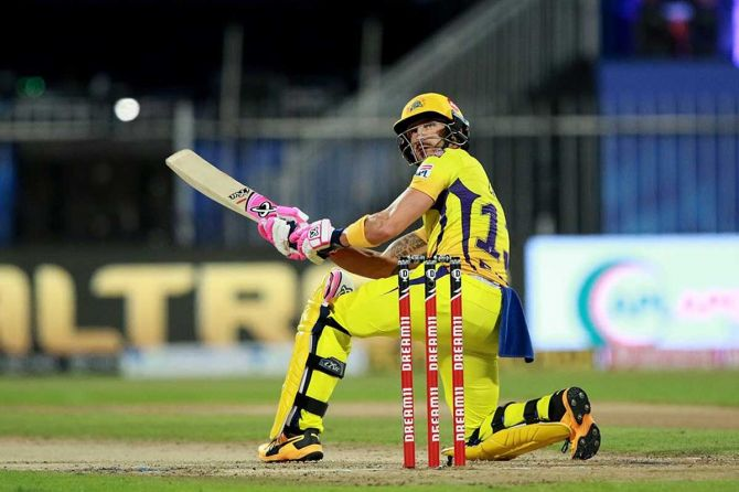 Faf du Plessis of Chennai Superkings in action against Delhi Capitals at the Sharjah Cricket Stadium