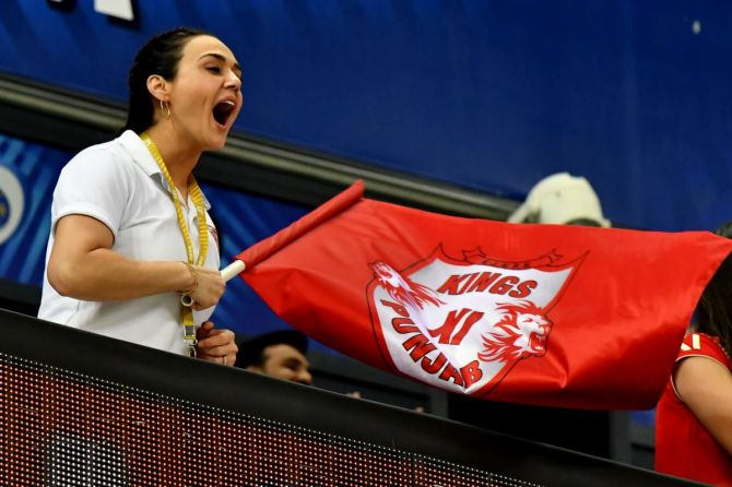 Kings XI Punjab co-owner Preity Zinta cheers her team on during their match against Mumbai Indians on Sunday