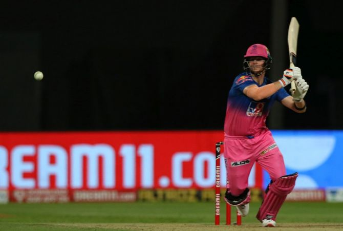 Steve Smith bats during the match against CSK on Monday. Rajasthan was 28/3 at one stage but Jos Buttler and Smith put together an unbeaten stand of 98 runs to take their side over the line.
