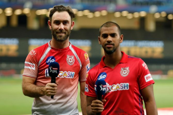 Glenn Maxwell and Nicholas Pooran are all smiles after guiding Kings XI to a comfortable victory over Delhi Capitals in Dubai on Tuesday