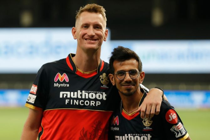 Chris Morris with his Royal Challengers Bangalore teammate Yuzvendra Chahal