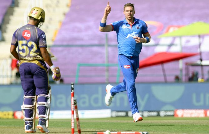 Anrich Nortje celebrates after clean bowling Rahul Tripathi