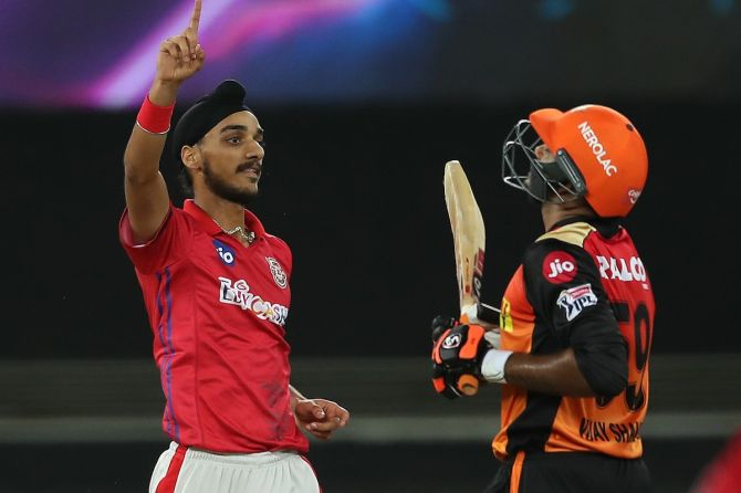 Kings XI pacer Arshdeep Singh celebrates after dismissing Vijay Shankar during the IPL match against SunRisers Hyderabad, in Dubai on Saturday.