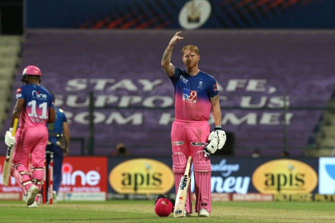 Rajasthan Royals batsman Ben Stokes waves to the dressing droom after his hundred against Mumbai Indians