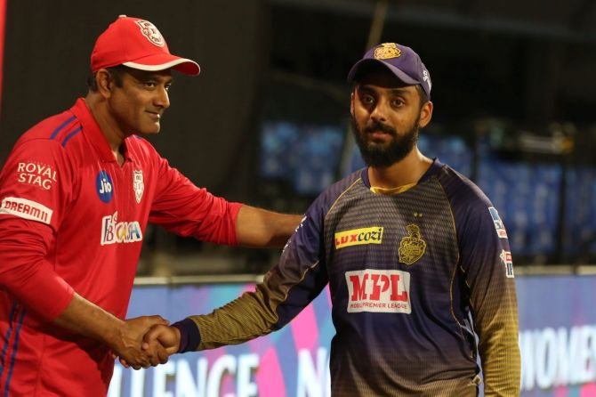 Anil Kumble, Director of cricket operations of Kings XI Punjab congratulates KKR's Varun Chakaravarthy on his inclusion in the Indian T20I squad on Monday.