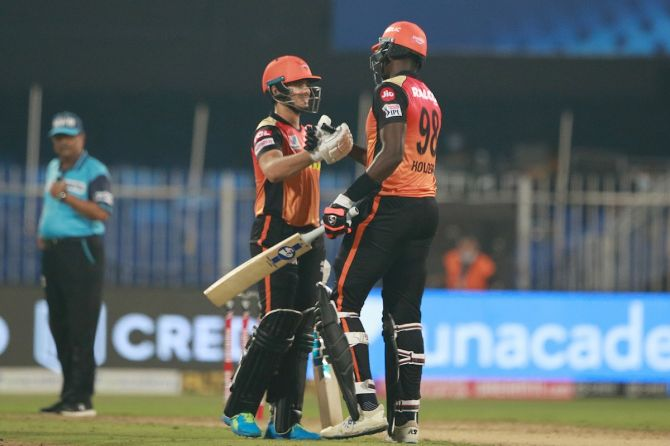 Sunrisers Hyderabad's Jason Holder and Abdul Samad celebrates after clinching victory over Royal Challengers Bangalore