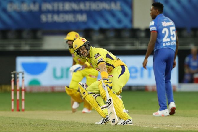 CSK's openers Shane Watson and M Vijay run between the wickets