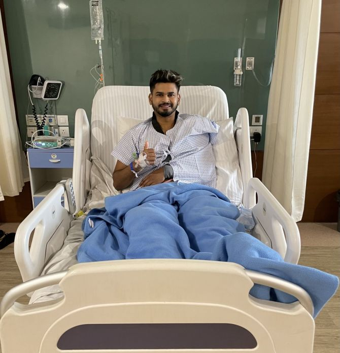 Shreyas Iyer posted this picture from his hospital ward post surgery