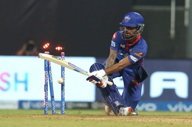 Shikhar Dhawan is bowled by Jhye Richardson